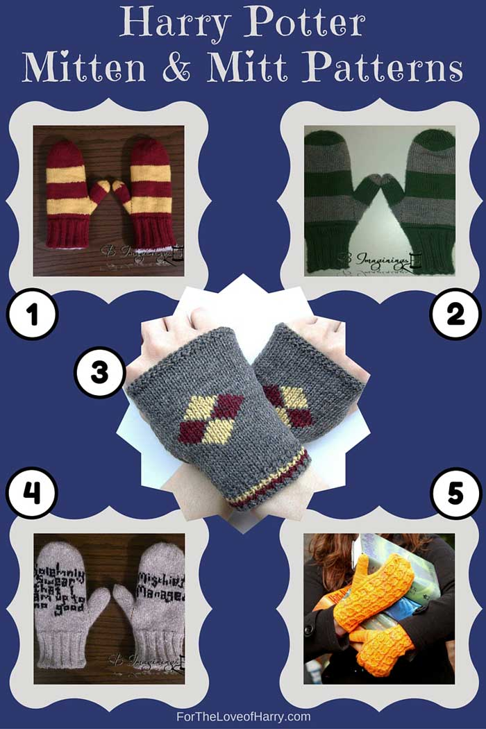 Examples of Harry Potter mitts and mittens knitting patterns