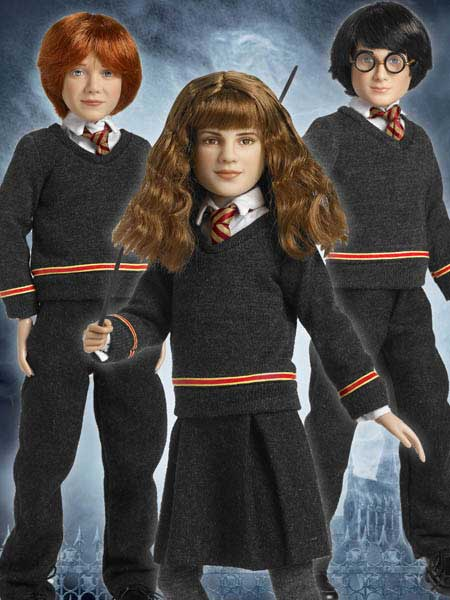 Tonner dolls of Harry Potter, Ron Weasley, and Hermione Granger
