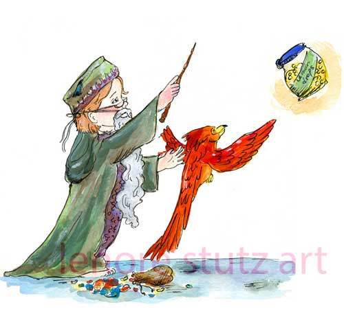Young Albus Dumbledore with Fawkes