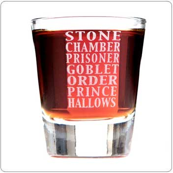 Book Titles Harry Potter Shot Glass