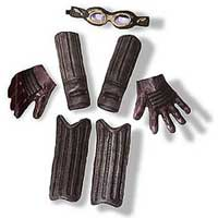 Quidditch accessory kit that includes goggles, elbow and shin guards, and gloves.