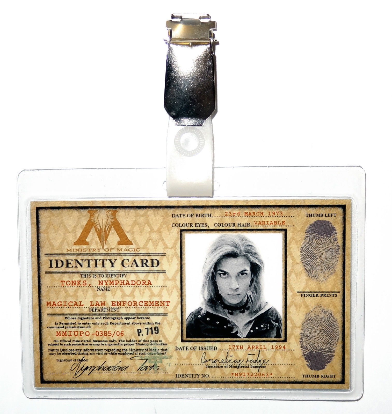Nymphadora Tonks Ministry of Magic ID Badge