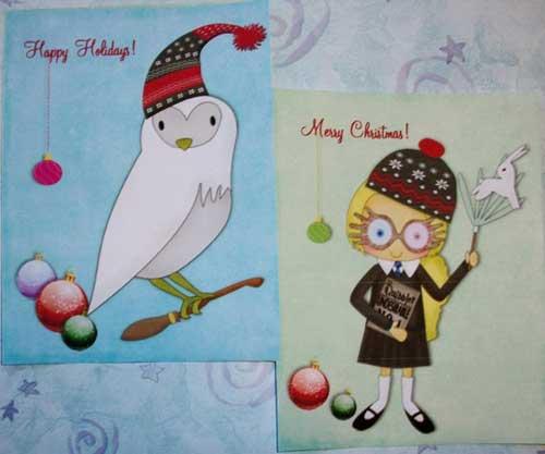 paintedbyrenee harry potter christmas cards