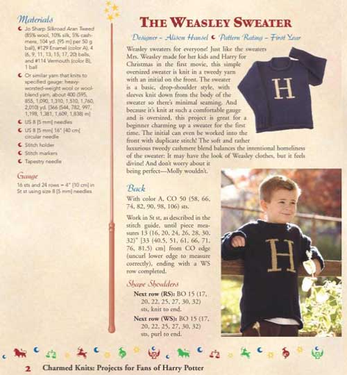 This pattern is for the sweater Mrs. Weasley made for Harry Potter