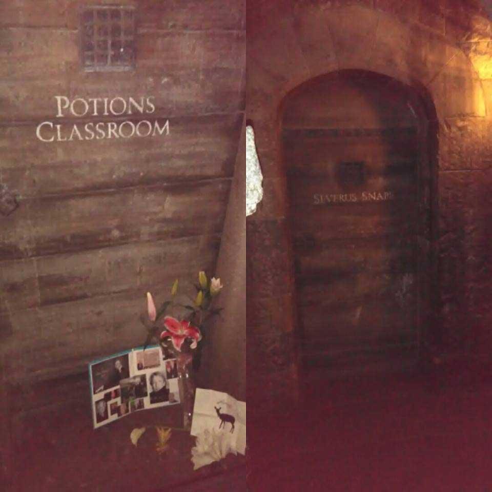 Memorial tributes at the front of Snape's door