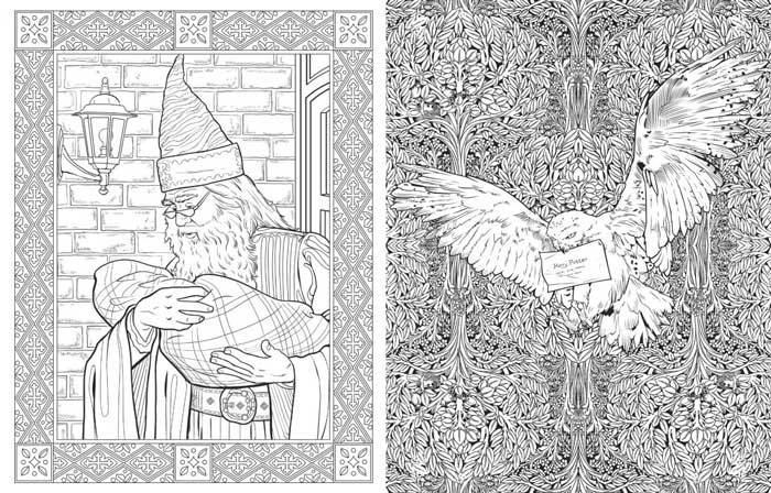 Example of the art found inside the Harry Potter Coloring Book