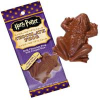 Chocolate frog from the Harry Potter movies with a character card inside.