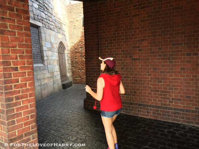 This is my daughter as approached the entrance to Diagon Alley for the first time