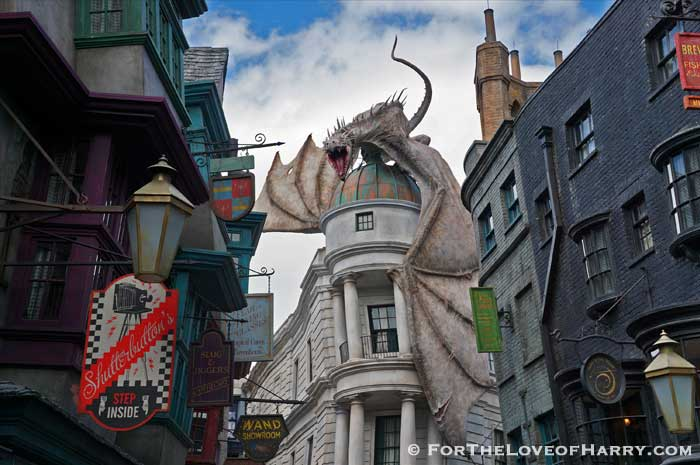 The dragon escaping from Gringotts Bank in Diagon Alley