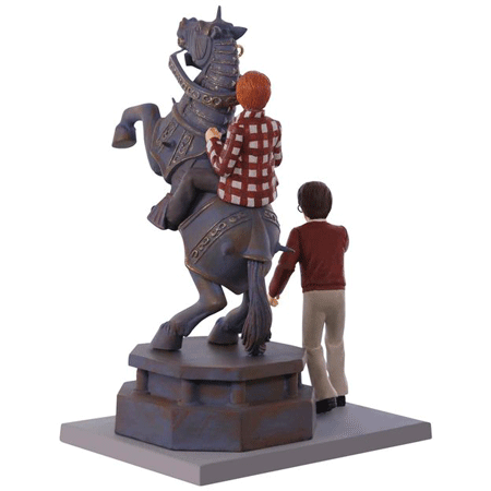 This is the backside of the 2017 Harry Potter Hallmark ornament of Ron Weasley and Harry playing wizard chess from the 1st film.