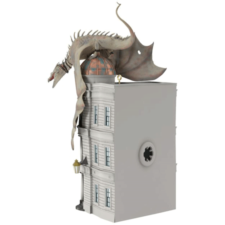 This is the back of the 2017 Harry Potter Hallmark ornament which is of the Ukrainian Iron Belly dragon escaping from Gringotts Bank.