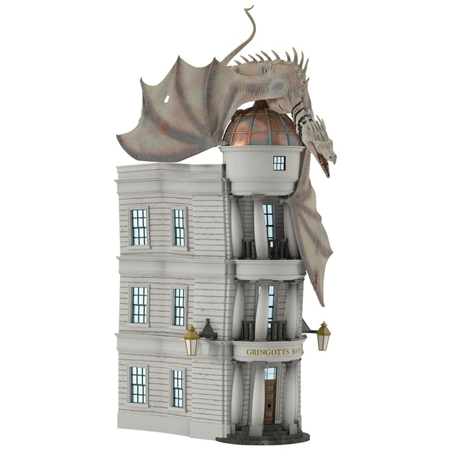 This is the front of the 2017 Harry Potter Hallmark ornament which is of the Ukrainian Iron Belly dragon escaping from Gringotts Bank.