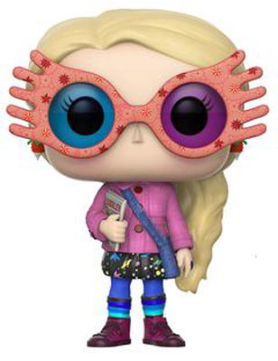 This Funko Pop figuring shows Luna Lovegood wearing her SpectraSpecs glasses and dressed in Muggle attire.