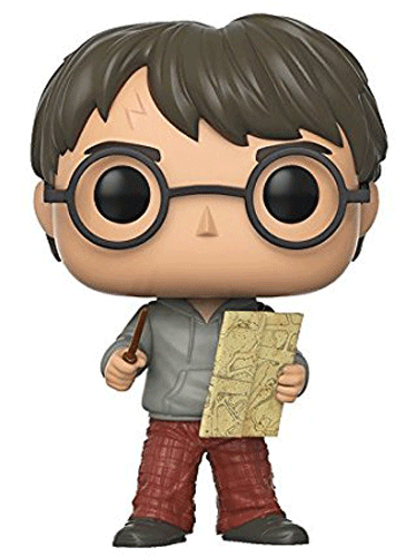 This is Funko Pop! 42 - Harry Potter holding his wand and the Marauders Map.