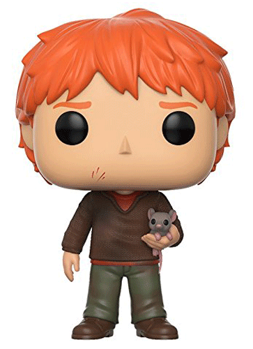 This is Funko Pop! 44 - Ron Weasley wearing Muggle clothes and holding his pet rat Scabbers.