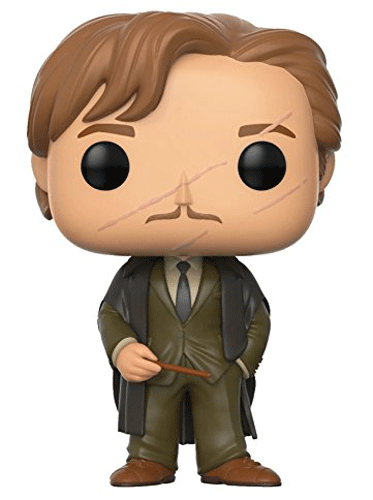 This is Funko Pop! 45 - Remus Lupin wearing his Hogwarts robe and shabby clothes, and holding his wand.