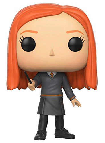 This is Funko Pop! 46 - Ginny Weasley wearing her Gryffindor school clothes and holding her wand.