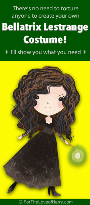 From her wild hair, corset, and dress to her wand, necklace, Dark Mark tattoo, and dagger, here are all the items needed for a Bellatrix costume!