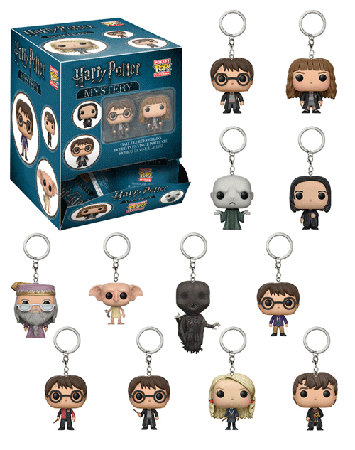 Collection of Funko mystery keychains of various Harry Potter characters.