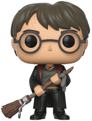 BoxLunch exclusive Funko of Harry Potter holding his Quidditch broom.